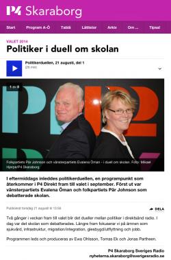 Vänsterpartiets Evalena Öman i politikerduell med Folkpartiets Pär Johansson