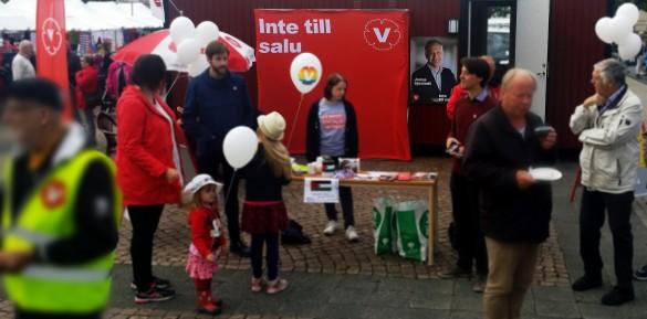 Vänsterpartiet Lidköpings valstuga när valarbete pågår