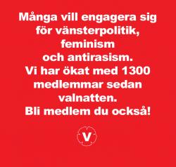 Klicka på bilden för att bli medlem i Vänsterpartiet du också. Och välkommen till Vänsterpartiet Lidköping den 3:e november.
